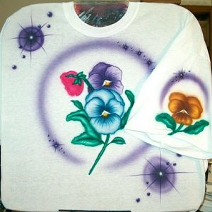 Tops - FLOWERS Airbrushed T-shirt Custom Made to Order